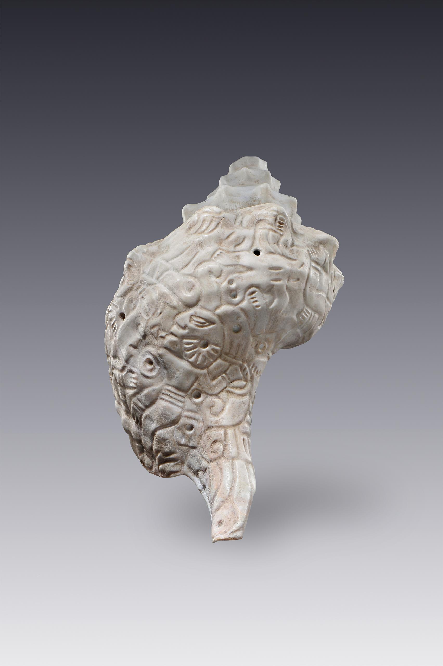 Trompeta de caracol con escena de combate   El amanecer de las formas   Museo Amparo, Puebla